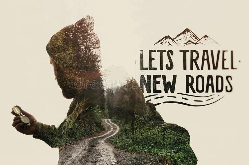 Metaphor of travel. Double exposure landscape with bearded traveler, road and lettering. Metaphor of travel royalty free stock photography