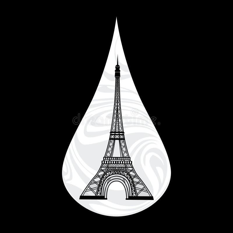 Metaphoric illustratie van Frankrijk Schreeuwende scheur, het rouwen, Parijs op de achtergrond, met een de torenvector van Eiffel royalty-vrije illustratie