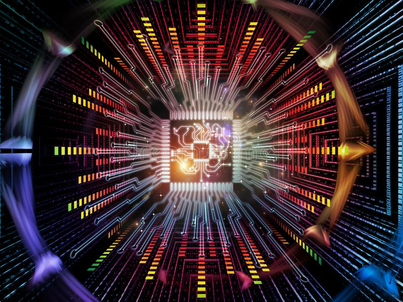 Metaphorical Digital Processor. Computing Machine series. Backdrop composed of CPU with fractal environment and suitable for use in the projects on computer royalty free illustration