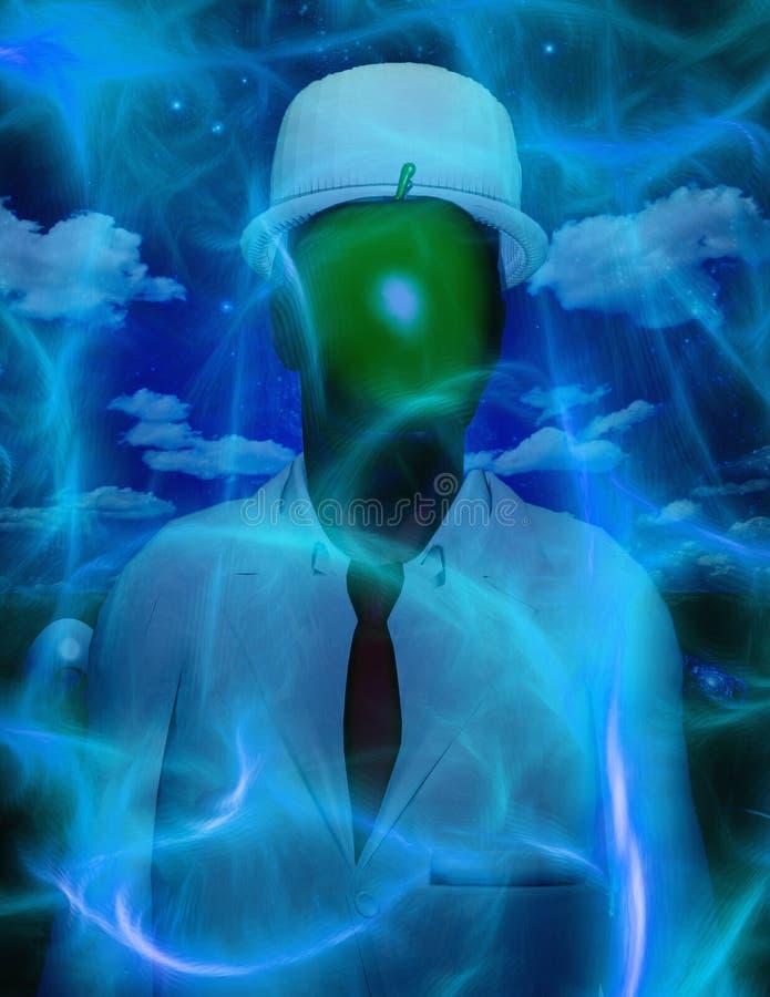 Metaphorische Zusammensetzung Mann mit grünem Apfel auf Gesicht lizenzfreie abbildung