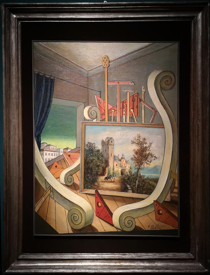 Metaphysical Interior with Romantic Landscape, painting by Giorgio de Chirico royalty free stock photography