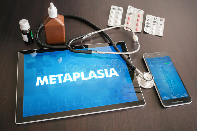 Metaplasia (gastrointestinal disease) diagnosis medical concept. On tablet screen with stethoscope vector illustration