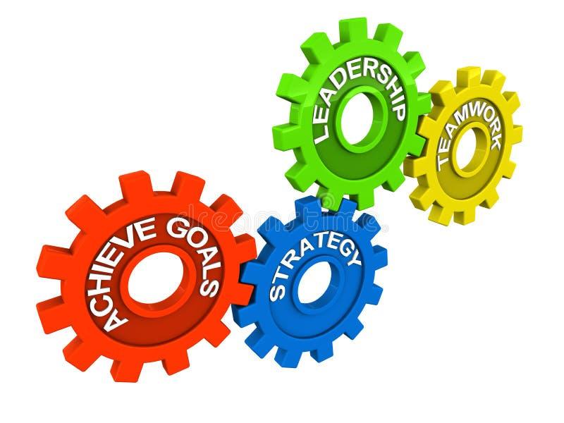 Metas de la dirección del trabajo en equipo ilustración del vector