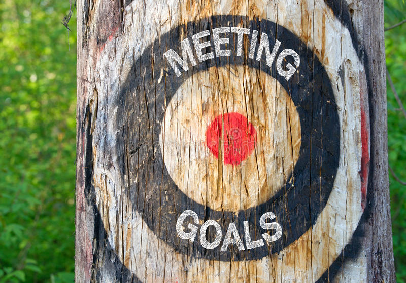 Metas de la reunión - árbol con la blanco y el texto foto de archivo