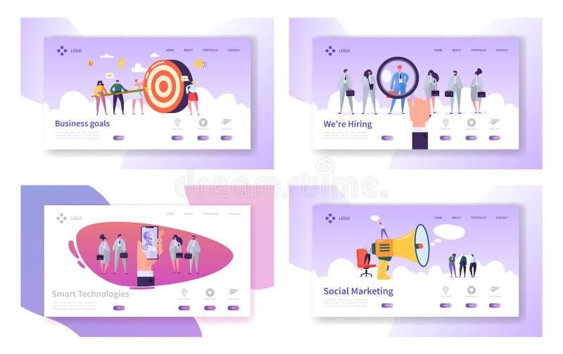 Metas de negocio, tecnologías elegantes, empleando, sistema de comercialización social de las plantillas de la página del aterriz libre illustration