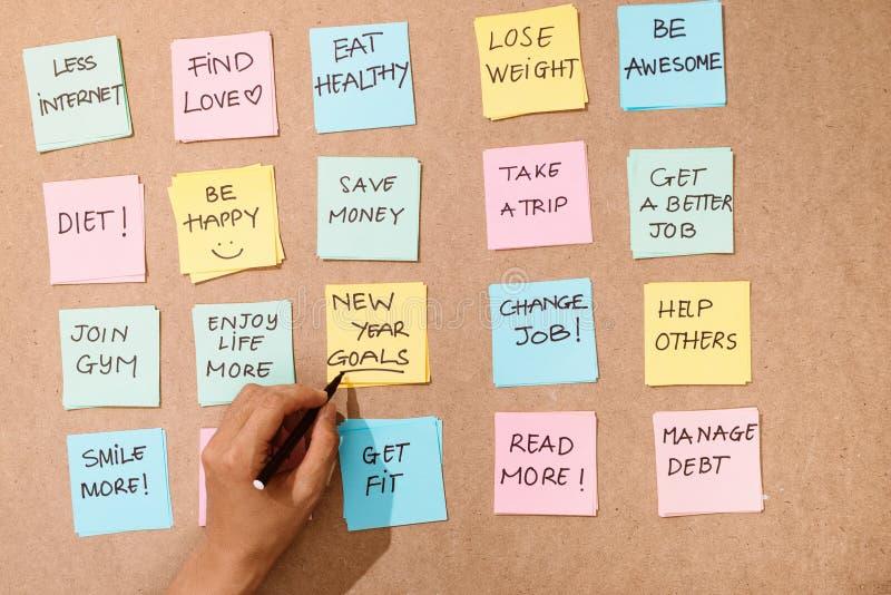 Metas del Año Nuevo de la palabra de la motivación 'en tarjeta amarilla foto de archivo libre de regalías