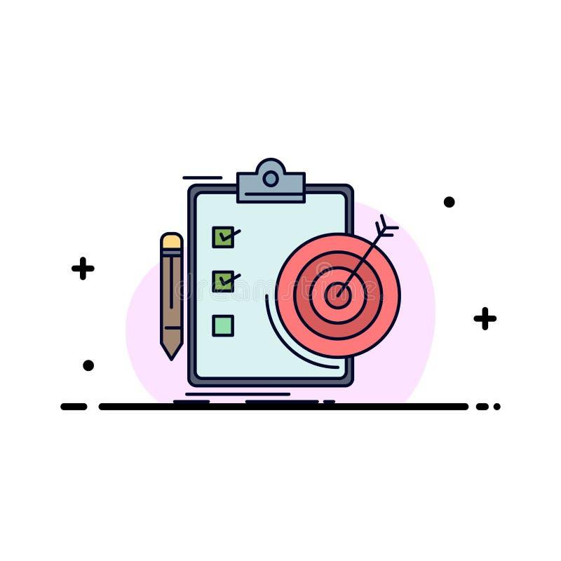 metas, informe, analytics, blanco, vector plano del icono del color del logro ilustración del vector