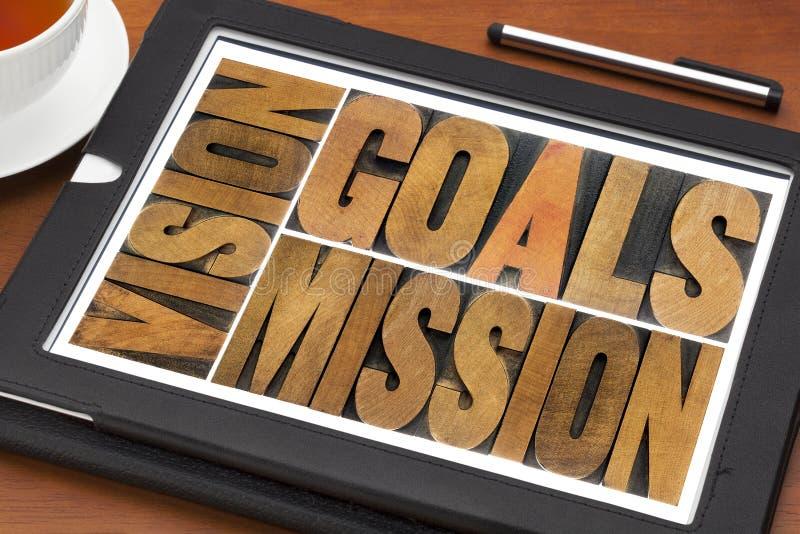 Metas, visión y misión imágenes de archivo libres de regalías