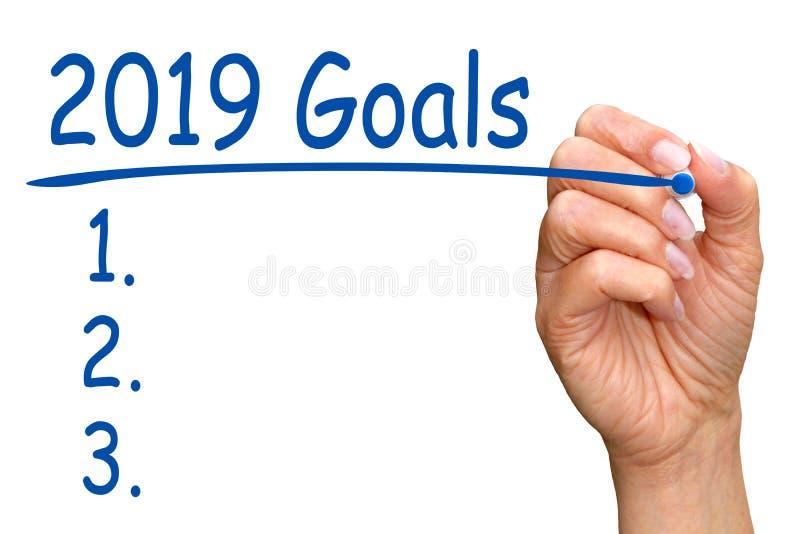 2019 metas y lista de control foto de archivo libre de regalías