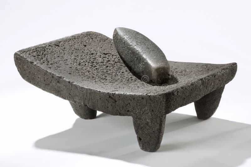 Metate, utensilio de piedra mexicano imagen de archivo libre de regalías