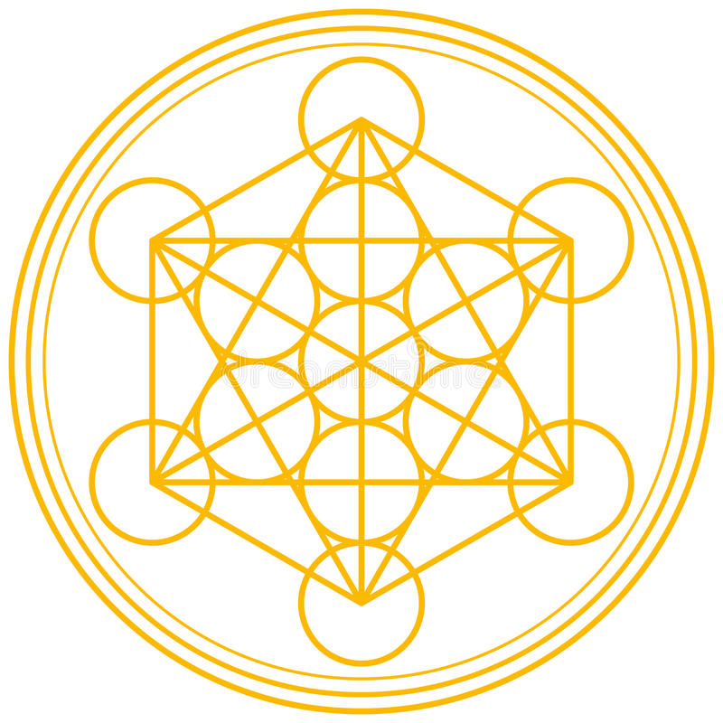 Free Metatron Cube Gold Royalty Free Stock Photos - 43114128