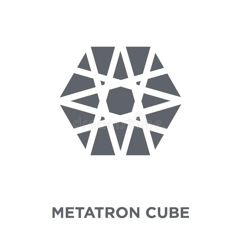 Metatron cube icon from Geometry collection. stock illustration