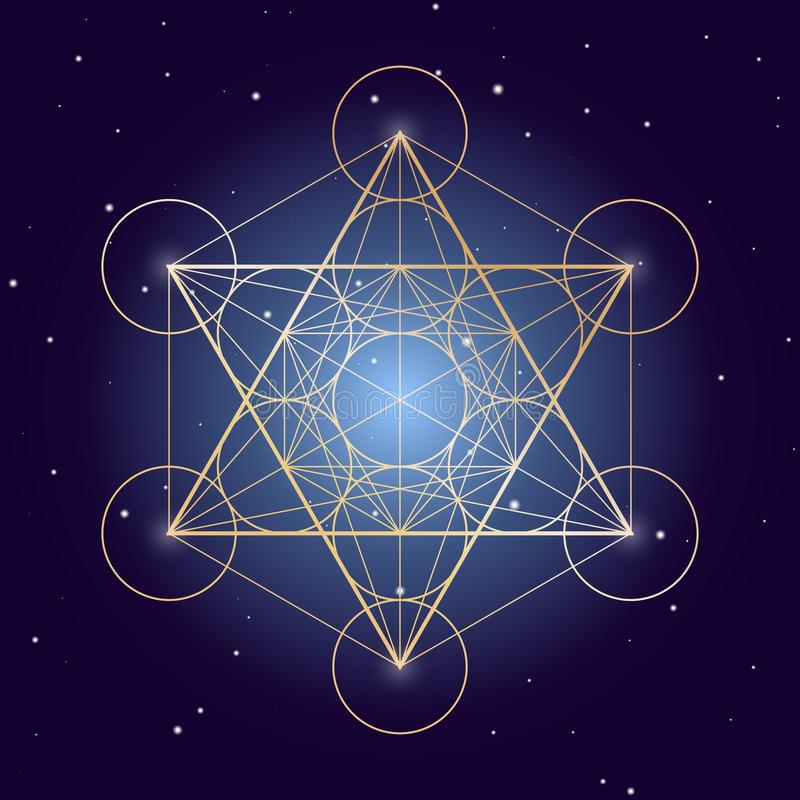 Metatron Cube symbol on a starry sky, elements of sacred geometry royalty free illustration