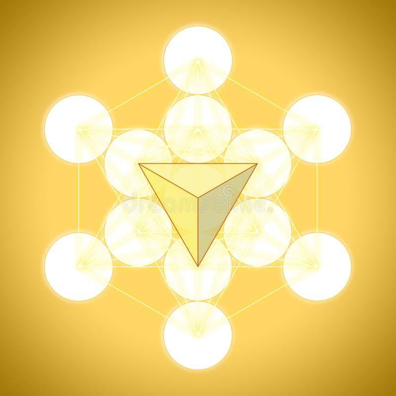 Metatron`s cube with platonic solids - tetrahedron stock illustration