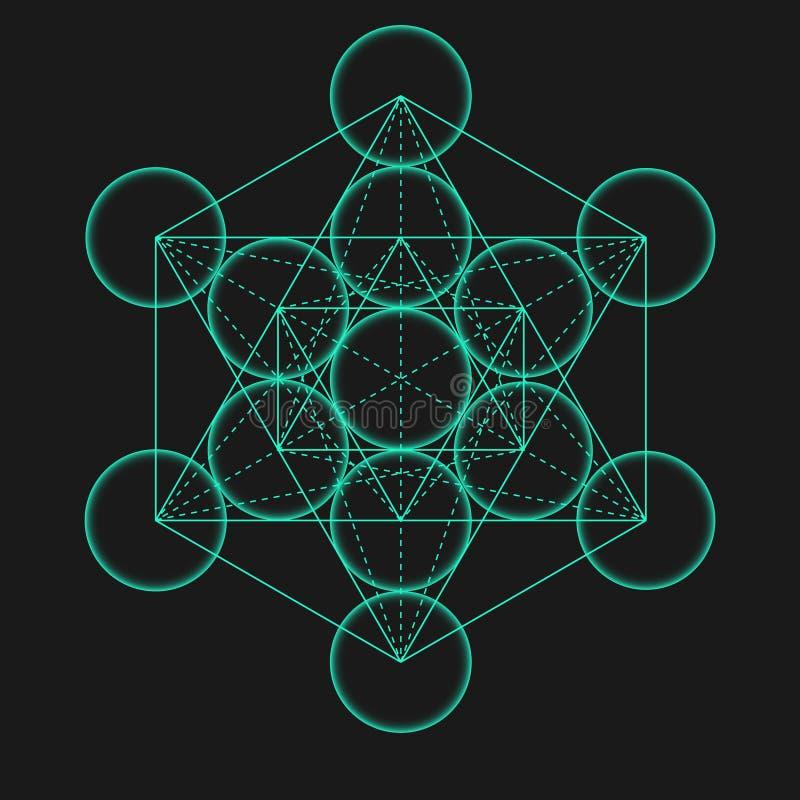 Metatrons立方体 生活花 神圣几何 库存例证