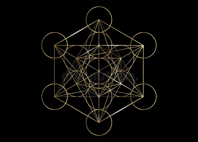 Metatrons Cube, Flower of Life. Golden Sacred geometry, graphic element Vector isolated Illustration. Mystic icon platonic solids. Metatrons Cube, Flower of Life vector illustration