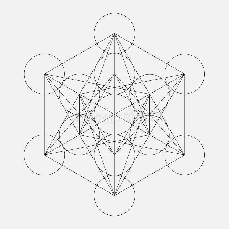 Metatrons kub Blomma av livstid Sakralt geometriskt royaltyfri illustrationer