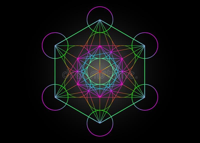 Metatrons sześcian, kwiat życie Święta geometria, graficzny elementu wektor odizolowywający lub czarny Kolorowej Tajemniczej ikon ilustracja wektor