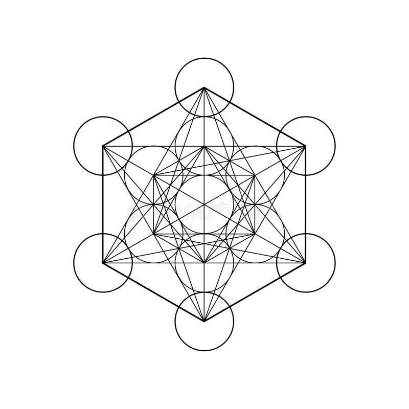 Metatronskubus, Bloem van het leven Heilige meetkunde, grafische elementenvector geïsoleerde Illustratie De platonische vaste lic royalty-vrije illustratie