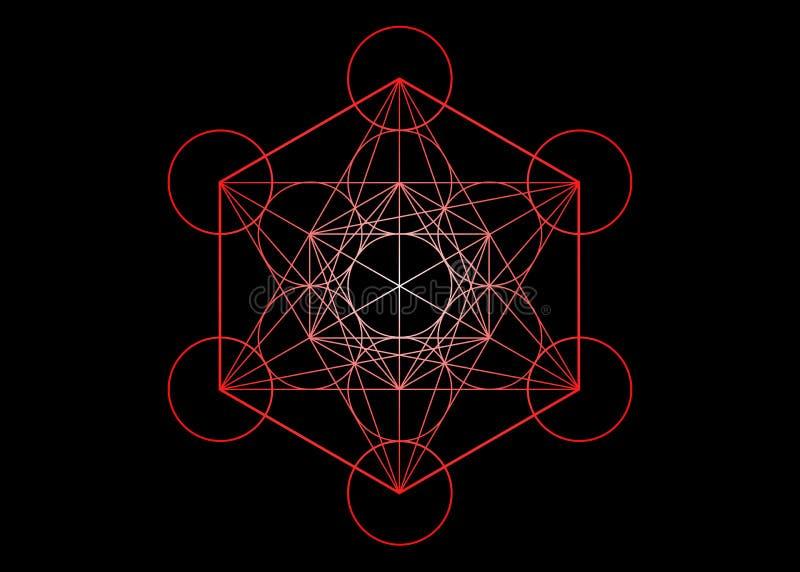 Metatronskubus, Bloem van het leven Heilige meetkunde, grafische geïsoleerde elementenvector of zwarte Kleurrijk platonisch Mysti stock illustratie