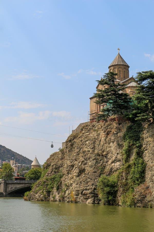在库那河上的Metekhi教会在第比利斯 库存照片