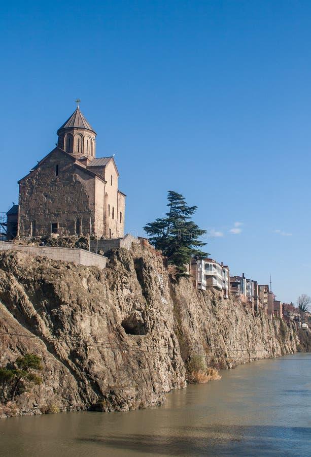 Metekhi kościół i widok rzeczny Kura fotografia royalty free