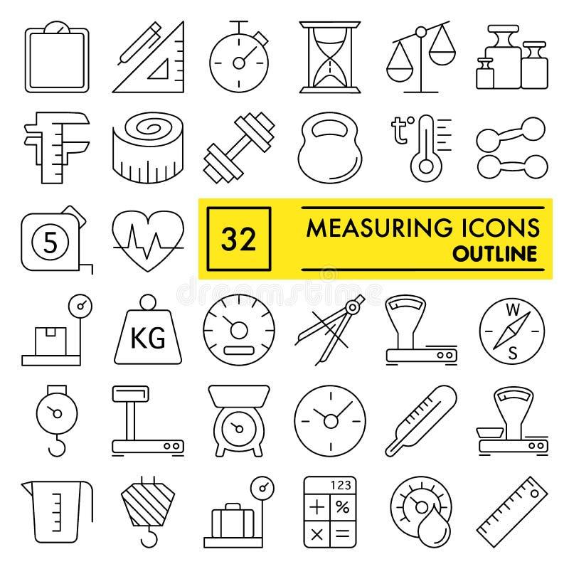 Metend de reeks van het lijnpictogram, ondertekent de inzameling van metingssymbolen, vectorschetsen, embleemillustraties, materi royalty-vrije illustratie