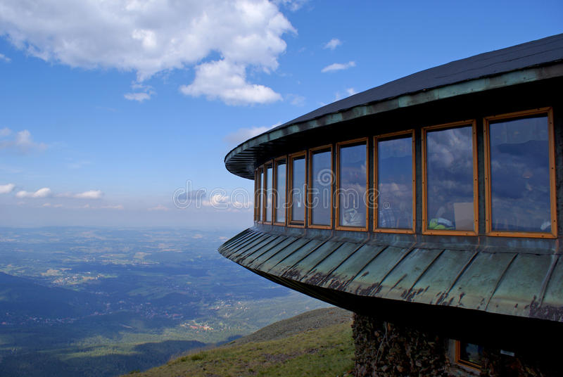 Meteo observatory on the top of mountain stock image