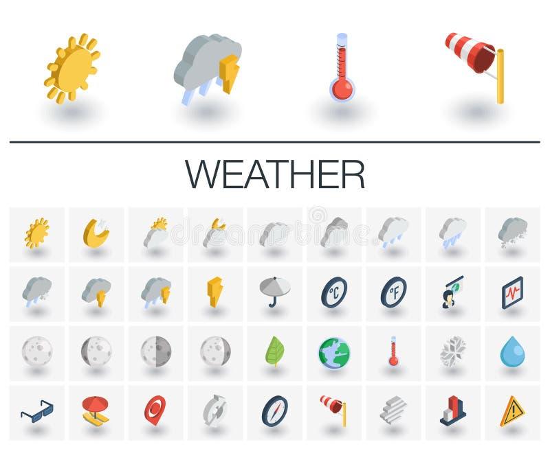 Meteo och isometriska symboler för väder vektor 3d stock illustrationer