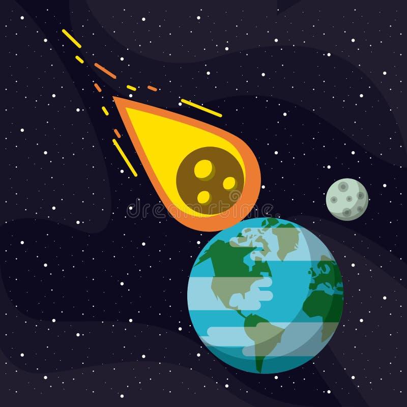 Meteoor die aan de aarde vliegen stock illustratie
