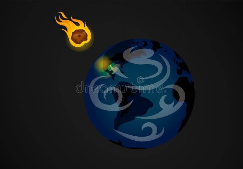 Meteoor die planeet raken vector illustratie