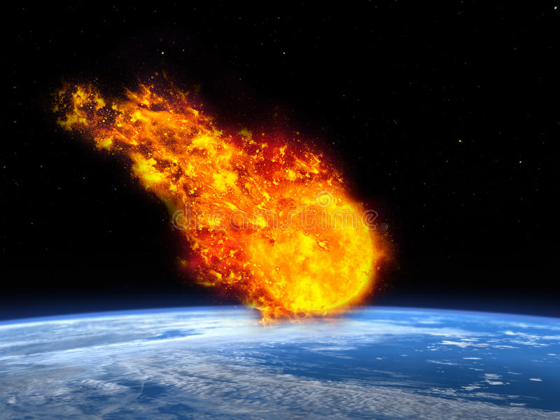 Meteor, Asteroid, Fireball, Apocalypse , Earth. The planet earth is headed into an end of the world apocalypse as an asteroid, meteor, or fireball is crashing stock photography