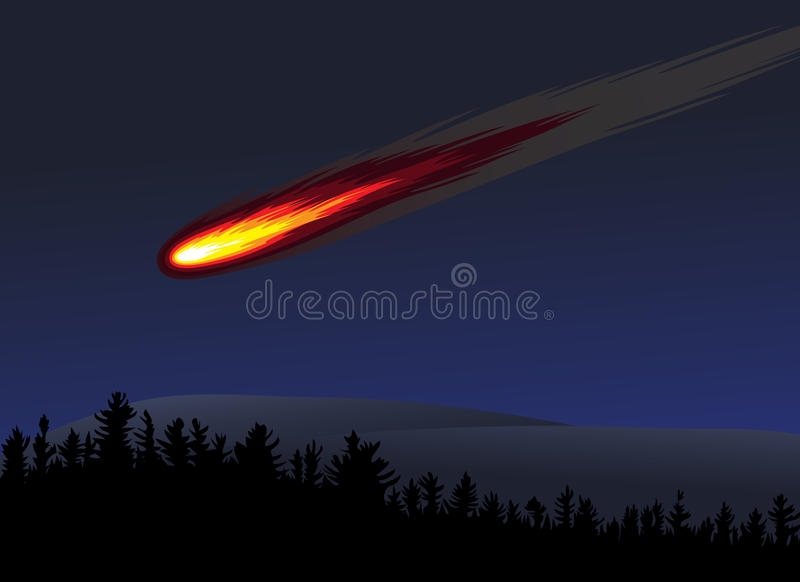 Download Meteor or fireball stock vector. Image of object, planet - 15626846