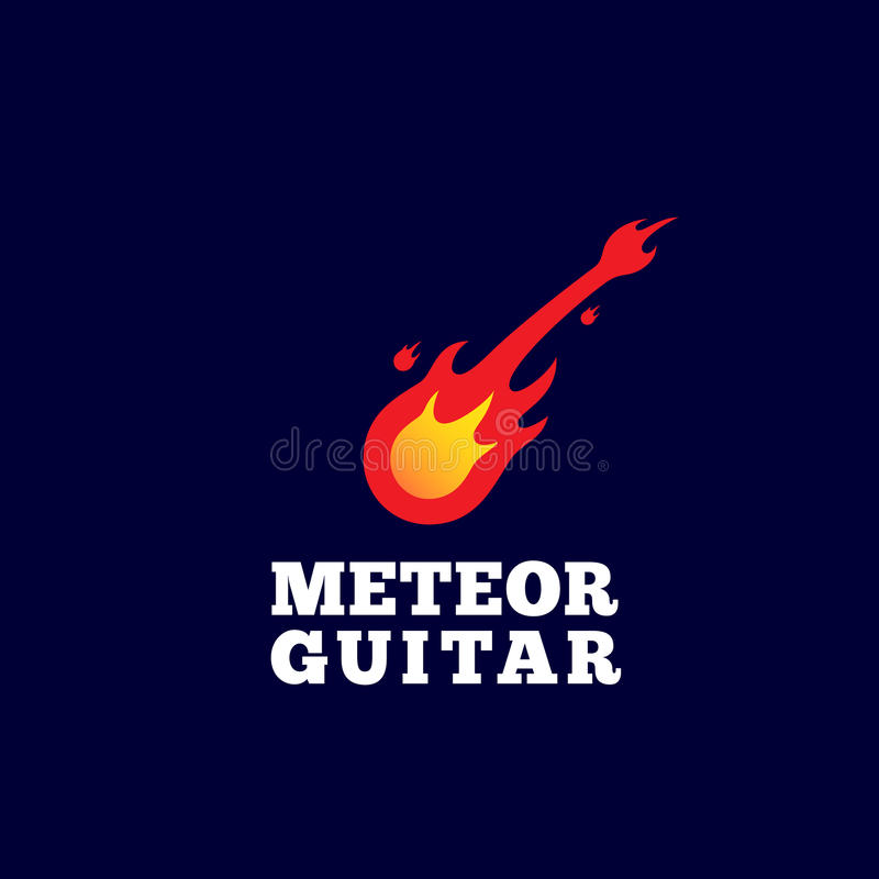Meteor Guitar Abstract Vector Sign, Emblem or Logo Template. Music Instrument Shaped Comet Silhouette. vector illustration