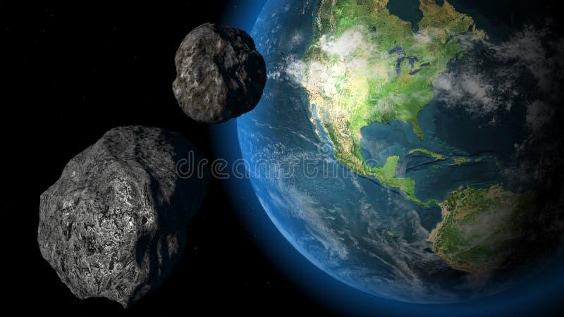 Meteor och jord royaltyfri illustrationer