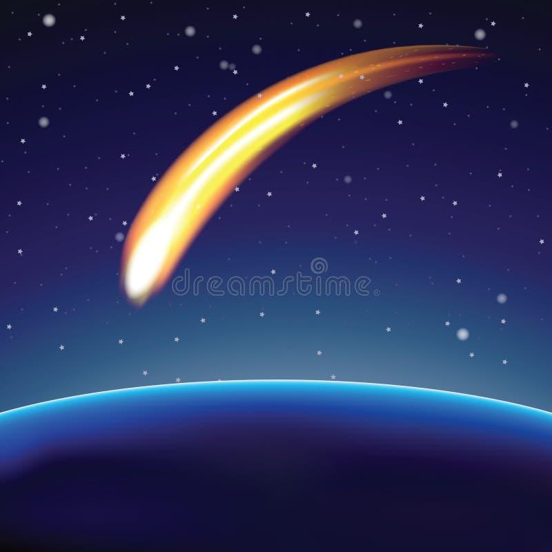 Meteor och jordklot i utrymme () stock illustrationer