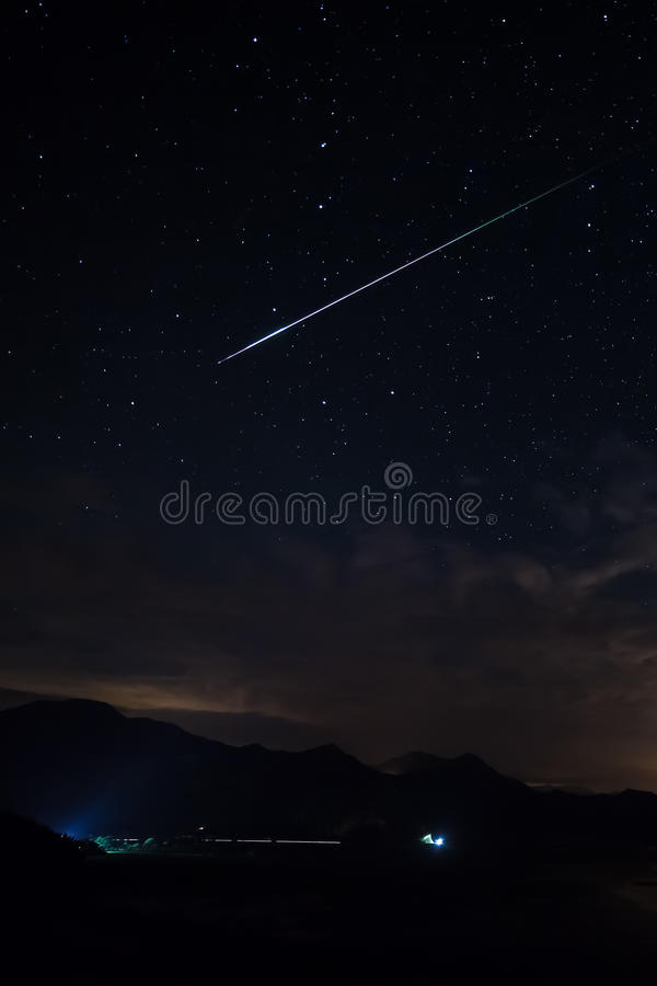 Meteor passing through the Big Dipper stock photo