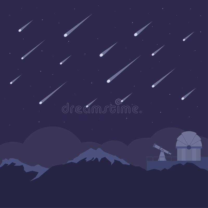 Meteor shower with astronomical observatory and night sky background. Meteor shower above silhouette of mountain with astronomical observatory and night sky stock illustration
