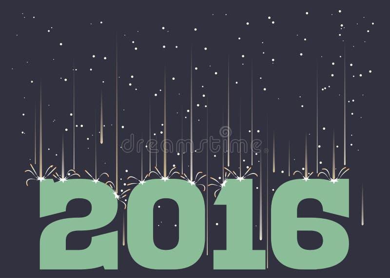 Meteor shower falling on 2016 royalty free illustration