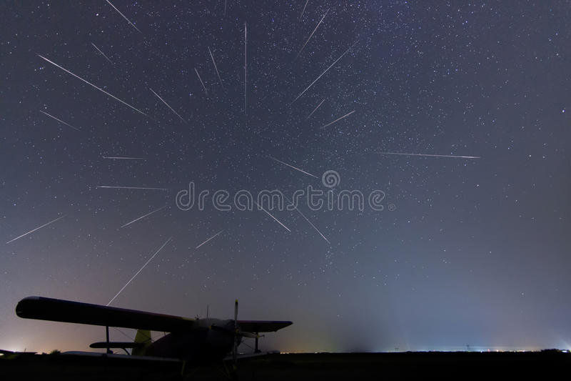 Meteor Shower. Falling stars. Meteor Shower starry night. Perseid meteor shower. Real night sky, Starry night. Light pollution. Si royalty free stock images