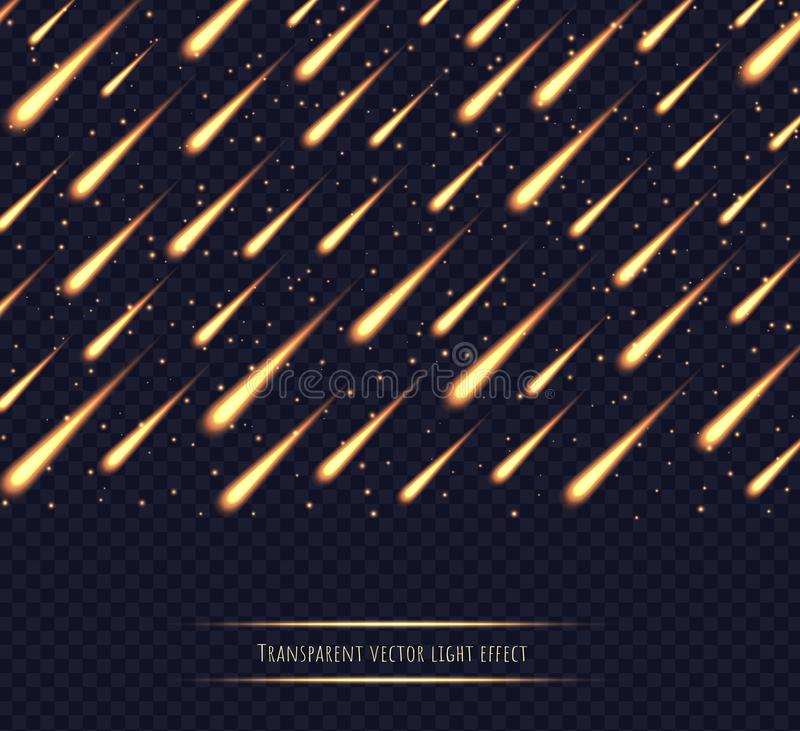 Meteor shower, yellow shooting stars, fire comets, asteroids in the night sky isolated on transparent background. Celestial event vector light effect vector illustration