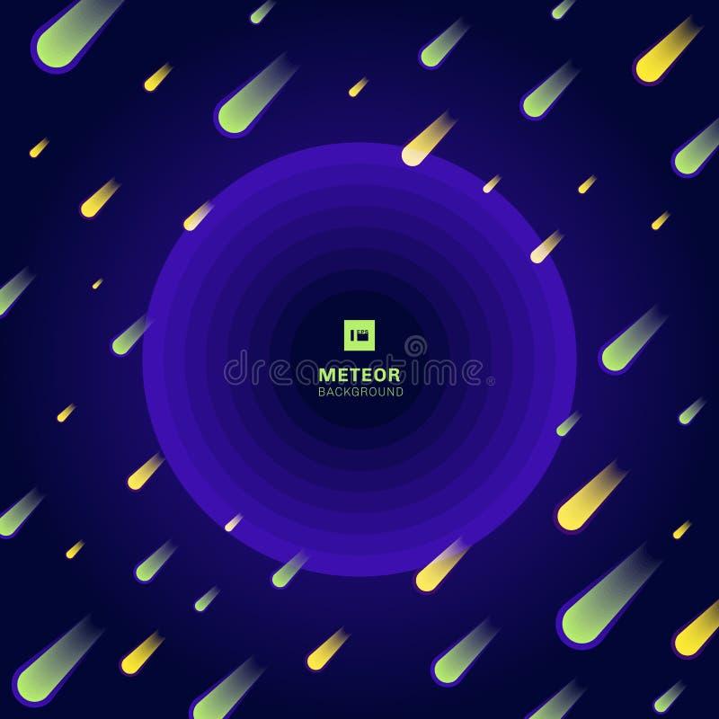 Meteor som är gul och som är grön på mörkt - blå lutningbakgrund Gnistrandebeståndsdel i universum royaltyfri illustrationer