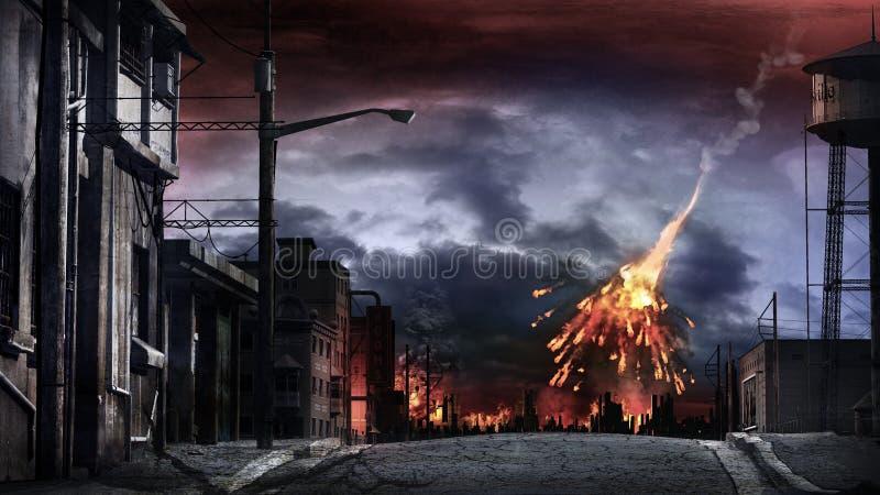 Meteor som exploderar över staden vektor illustrationer