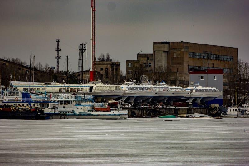 Meteor speed vessels at Vuoksa river. royalty free stock photo