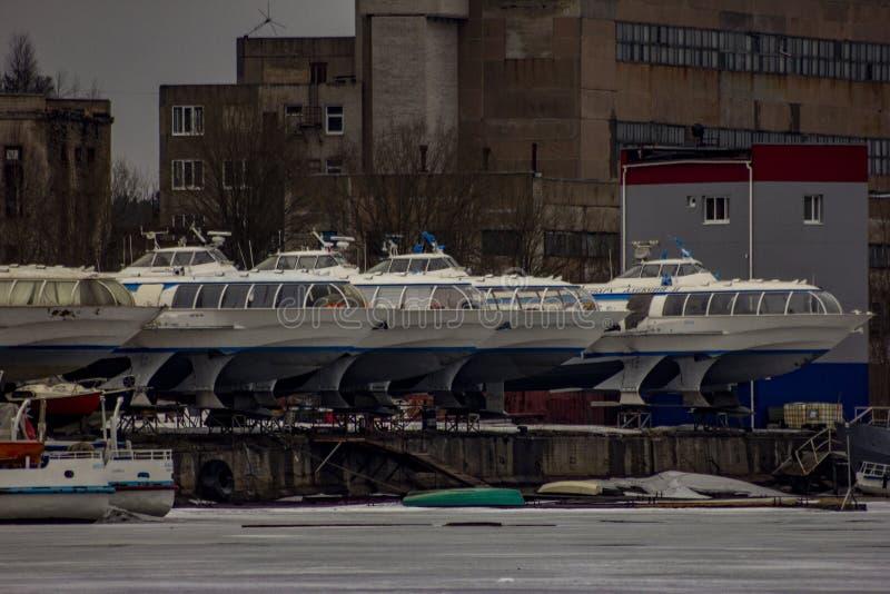 Meteor speed vessels at Vuoksa river. stock photography