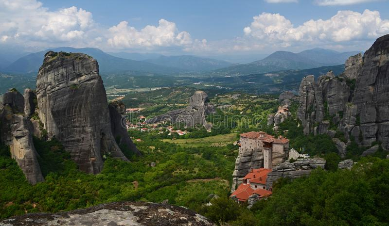 Great Monastery of Varlaam on the high rock in Meteora, Thessaly, Greece. Meteora - a complex of monasteries, the second largest in size after Athos, located on stock images