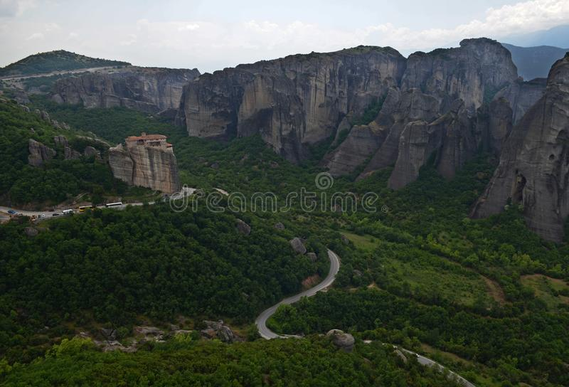 Great Monastery of Varlaam on the high rock in Meteora, Thessaly, Greece. Meteora - a complex of monasteries, the second largest in size after Athos, located on royalty free stock photo