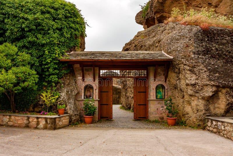 METEORA, GREECE - JUNE, 2011: Varlaam monastery. METEORA, GREECE - JUNE, 2011: Entarance to Varlaam monastery, holy place in mountains stock images