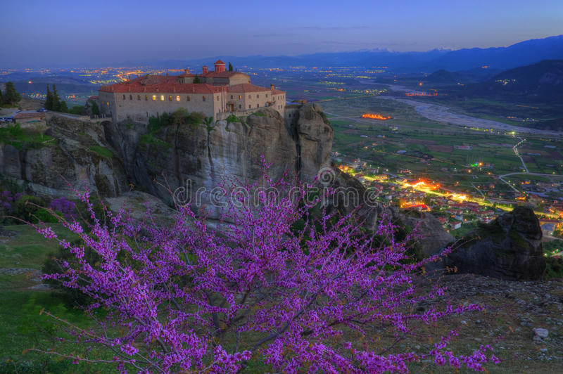 Meteora, Greece - spring picture, monastery Saint Stephen royalty free stock photo