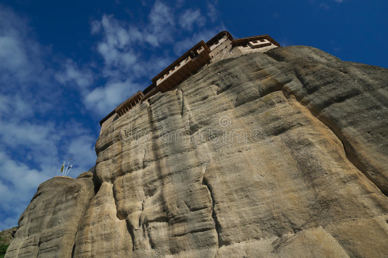 Meteora Grekland - kloster Roussanou arkivbild